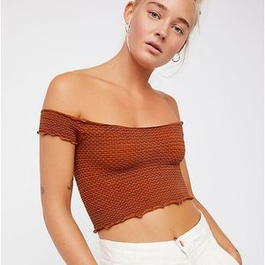 Free People Smocked Crop Top